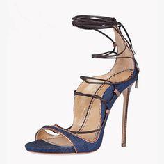 Shoespue Denim Lace Up Sandals