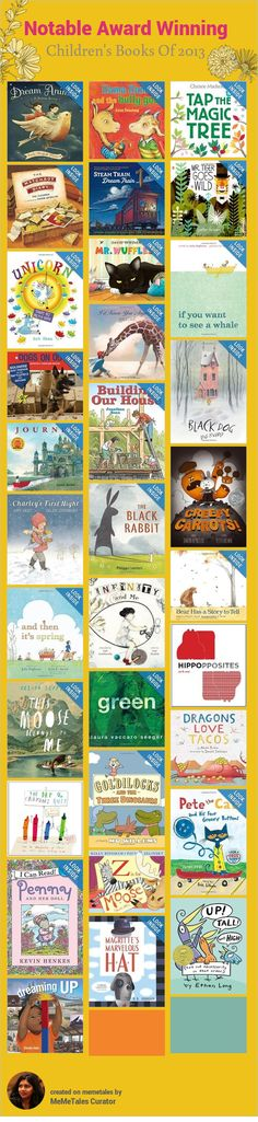 These books are a subset of the books on the lists here. Note from the website -�Each year a committee of the Association for Library Service to Children (ALSC) identifies the best of the best in children's books. According to the Notables Criteria,