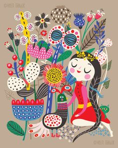 Fiona & Her Magic Garden... - limited edition giclee print of an original illustration (8 x 10 in)