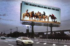 Mock-up of a highway billboard installation, Pine Ridge Billboard Project by Aaron Huey