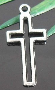 fisrt communion wedding 40pcs Tibetan Silver Cross Charms 23x11mm $1