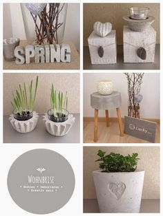 projects using cement Beton Mehr Beton Mehr Cement Art, Concrete Crafts, Concrete Pots, Concrete Design, Concrete Sculpture, Papercrete, Decoration Plante, Creation Deco, Diy Projects To Try