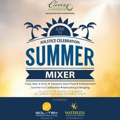 Come out and help us celebrate 3 awesome clients under one roof - for a truly spectacular event! Don't miss out on the Clovis Chamber of Commerce Summer Solstice Celebration Mixer co-hosted by Sol-Tek Industries, Inc. and WaterLess Grass & Greens! We'll be there tonight from 5-7 pm! #Mixers #Clovis