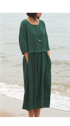Linen dress long sleeve Maxi dress Casual loose Kaftan par Luckywu