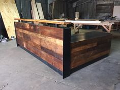 L Shaped Reception Desk Done In Rustic Facing With A Metal