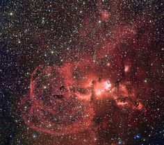 Star formation in the southern Milky Way This mosaic of images from the Wide Field Imager on the MPG/ESO 2.2-metre telescope at ESO's La Silla Observatory in Chile shows two dramatic star formation regions in the southern Milky Way. The first of these, on the left, is dominated by the star cluster NGC 3603, located about 20000 light-years away, in the Carina–Sagittarius spiral arm of the Milky Way galaxy. The second object, on the right, is a collection of glowing gas clouds known as NGC…