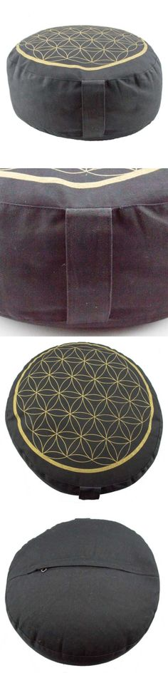 Massage Pillows and Bolsters: Deluxe Black Meditation Cushion Zafu Pillow With Gold Flower Of Life (Round) -> BUY IT NOW ONLY: $69 on eBay!