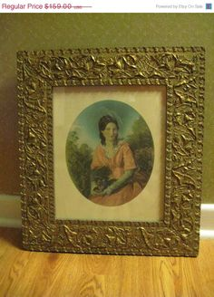 ON SALE Antique Print 'Lady with Small Dog' Print by dtriece