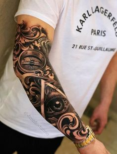 Half Sleeve Tattoos Designs, Best Sleeve Tattoos, Sleeve Tattoos For Women, Tattoo Designs Men, Cool Tattoos, Small Tattoos, Rose Tattoos For Men, Arm Tattoos For Guys, Tattoo Bras Homme