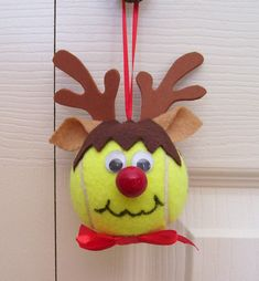 Christmas Reindeer Ornament Tennis Ball Boy by roseartworks, $8.00