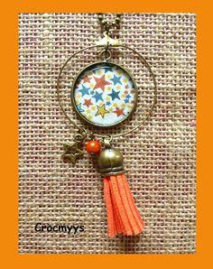 Sautoir rétro créole liberty adelajda orange : Collier par crocmyys