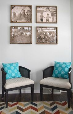 Seating-area-with-four-rustic-frames-above. Turning pictures into wall art and memories. All done with some over sized images and a DIY rustic wood frame. Turning a sitting area into a place for family.