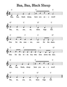 Free Sheet Music - Free Lead Sheet - Baa, Baa, Black Sheep