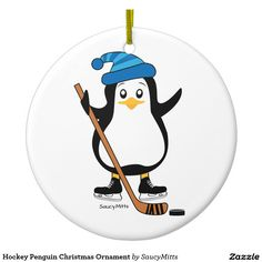 Hockey Penguin Christmas Ornament