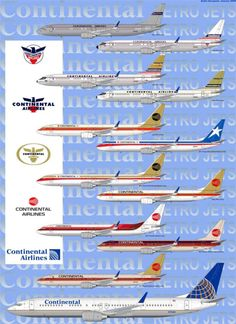 Vintage Aircraft A great history of the livery and logos of Continental Airlines! Civil Aviation, Aviation Art, Happy Wanderers, Airline Logo, Passenger Aircraft, Air Festival, Commercial Aircraft, United Airlines, Air Travel
