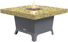Amazon.com: COOKE Parkway Square fire Pit Table - 48 x 48 - Dining Height - Propane - Santa Cecillia Granite Top - Grey Texture Powdercoat Base: Kitchen  Dining Outdoor Heaters, Patio Heater, Square Fire Pit, Granite Tops, Fire Pit Table, Powder Coating, Kitchen Dining, Santa, Base