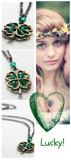 St. Patrick's Day Necklace. Four Leaf Clover Pendant. Irish Shamrock for Good Luck. Green Crystal Necklace, Celebrate Spring