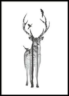 Schönes und modisches Schwarz-Weiß-Poster mit Naturmotiv. Der Wald innerhalb der Hirschsilhouette hat eine beruhigende Wirkung. Der majestätische Hirsch ist von Vögeln umgeben. Eines unserer vielen Poster mit Natur- und Tiermotiven. www.desenio.de