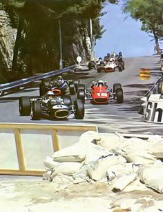 "f1-motor-und-sport: ""Hulme - Bandini - Stewart - Surtees - Gurney - McLaren - Clark , 1967 Monaco GP, Monte Carlo """