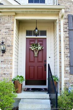 Love this front door color- Martha Stewart- Home Depot Chocolate Cosmos Door Paint Colors, Front Door Colors, Front Door Decor, Home Depot, Martha Stewart Home, Chocolate Cosmos, Thrifty Decor Chick, Painted Front Doors, House Front