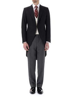 Black Windsor Herringbone Morning Coat | Menswear - Clothing - Morning Coats - Wedding Attire - Groomswear - Look 2 - Look 3 - Look 13 - Favourbrook