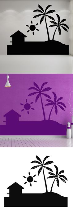 Simple Design Removable Sun Decal Palm Trees Beach Wall Sticker PVC Waterproof Living Room Home Decor $8.75
