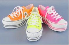 Women Platform Sneakers Tennis Shoes Fluorescent Pink US 8