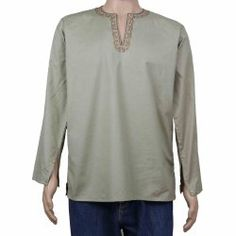 Kurta Shirts For Men Oriental Dress Asian Fashion Cotton Clothes; Large, Chest Size: 42 Inches.