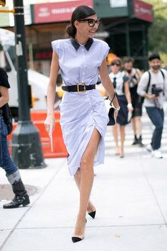 belted shirtdress. perfection. Gio in NYC. #GiovannaBattaglia