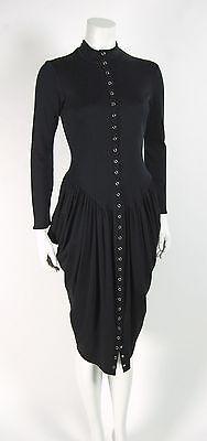 Vintage Betsey Johnson PUNK LABEL Black Bustle Dress size 6 8 Bustle Dress ada84e057