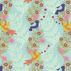 Singing Love Birds Spring Friends Coordinate fabric by shellypenko on Spoonflower - custom fabric
