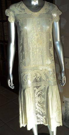 Antique 1920's Filet Lace Cotton Embroidered Tea Dress Wedding Dress Handmade Irish Crochet Greek Ke