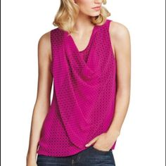 "CAbi brilliant pink top CAbi ""Brilliant pink Blouse"" Style # 983 This gorgeous sleeveless shirt has a drape neckline and relaxed fit. The material is light weitgh polyester. Layered along the front, semi-sheer along the back. Approximately 26.5 inches in length. Very flattering! CAbi Tops Blouses"