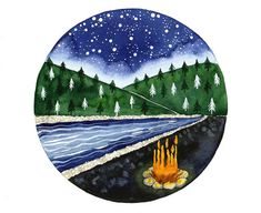 Campfire watercolor painting Starry night river and by bluepalette