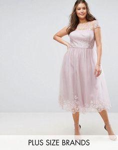 Chi Chi London Plus Premium Lace Midi Prom Dress with Lace Neck Chi Chi, Bridal Dresses, Bridesmaid Dresses, Prom Dresses, Lace Dress, Dress Up, Plus Size Brands, Curvy Plus Size, Asos