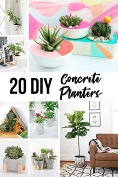 Large Concrete Planters, Concrete Pots, Concrete Crafts, Concrete Projects, Concrete Casting, Concrete Design, Succulent Planter Diy, Diy Planters, Planter Ideas