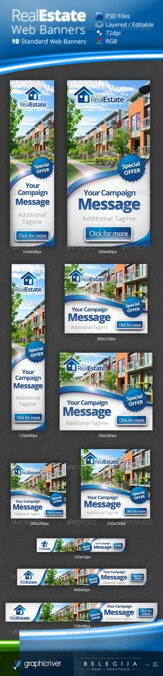 Real Estate Campaign Web Banners  #GraphicRiver         Multipurpose Real Estate Campaign Web Banners. Fully layered and very easy to edit. Unique and professional design. Includes 10 standard web banner sizes.  	 A full set of web banner templates designed for your Real Estate Campaign.  	 Included are: 10 PSDs | Minimum Adobe Version: Photoshop CS3  	 Fonts used: Open Sans Open Sans is a clean and modern sans-serif typeface designed by Steve Matteson and commissioned by Google. It is…