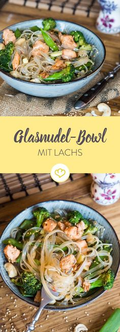 Asiatische Glasnudel-Bowl mit Lachs und Sesam - Lachsnudeln auf Asiatisch: Nimm Glasnudeln statt Pasta, Hoisin-Sauce statt Sahne, Schüssel statt T - Hoisin Sauce, Thai Sauce, Salmon Recipes, Asian Recipes, Easy Recipes, Sesame Recipes, Chicken Recipes, Feta, Chinese Recipes