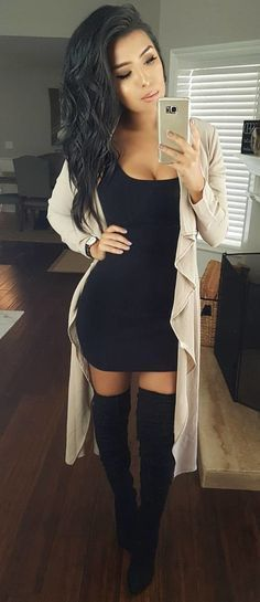 white cardigan and black sheath dress and pair of black tight-high boots Mode Outfits, Sexy Outfits, Dress Outfits, Casual Outfits, Fashion Outfits, Womens Fashion, Casual Shoes, Dress Fashion, Fashion Ideas