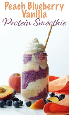 Peach Blueberry Vanilla Protein Smoothie - packed with 35 grams of protein, this smoothie is a refreshing post-workout snack or treat.