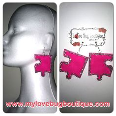 Pink puzzle earrings with glitter. Hand painted www.mylovebugboutique.com #handmade #earrings #handpainted #puzzle #glitter