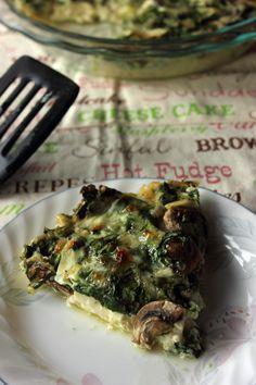 Spinach and Mushroom Crustless Quiche on MyRecipeMagic.com