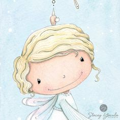print  angel  snowflake  snow  bell  blue  winter  por staceyyacula, $20.00