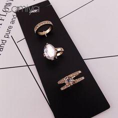 Comiya Wholesale Fashion Boho Zinc Alloy Acrylic Stone Women Finger Rings Joyas Acero Inoxidable Mujer Wholesale Cute Ring #Affiliate