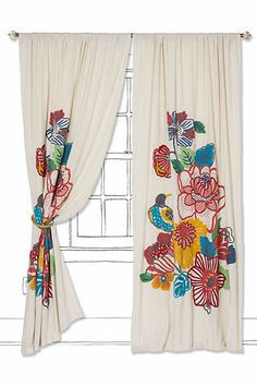 Two of these with the lace applique in the middle? Living room curtains
