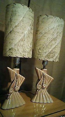 """2 vtg eames atomic age table lamps abstract design fiberglass shades pair 20"""""""