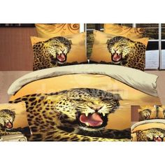 Žlté posteľné obliečky s gepardom