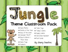 Jungle Theme Classroom Pack by Berry Creative. US$5.00. Name plates, cubby labels, Word Wall letters, etc.