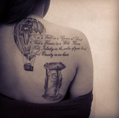 Hot air balloon & hourglass #tattoo in black & grey