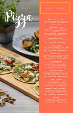 Copy of Pizza Menu Template Pizza Menu Design, Food Menu Design, Restaurant Menu Design, Tahini, Menu Maker, Sweet Chili Chicken, Avocado, Burger Menu, Chicken With Olives